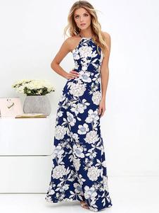 Floral Maxi Dress Mulheres Backless Impresso Long Summer Dress
