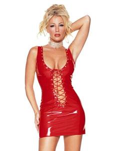 Vestido Sexy Club 2020 Vermelho U Neck Sem Mangas Lace Up PU Bodycon Vestido