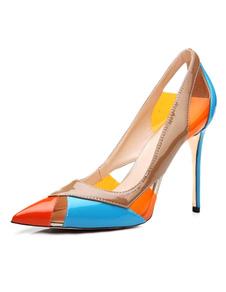 Sapatos 2020 Dedo Do Pé Apontou Saltos Mulheres Vestido Sapatos Multicolor Cortado Deslizamento Em Saltos Altos