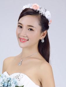 Для новобрачных стразами головные украшения атласная тиара свадьбы волосы цветок