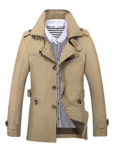 Мужская куртка-хаки с отложным отложным воротником Colloar с длинным рукавом и плащом 3 размера, хлопок на пуговицах