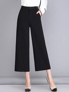Nero gamba larga Pantalone pantaloni per le donne