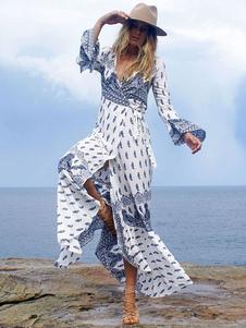 Vestido largo azul  con manga larga de algodón con abertura lateral con estampado asimétrica con cuello en V estilo bohemio
