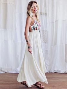 Vestido largo blanco  Moda Mujer de rayón con pliegues Vestidos con estampado Vestidos bohemios muy escotado por detrás con tirantes estilo bohemio