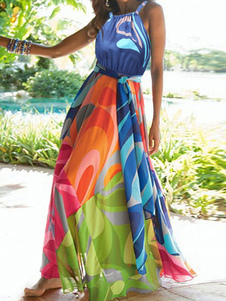 Multi cor azul Maxi vestido feminino pregas vestido sem mangas longa do Chiffon
