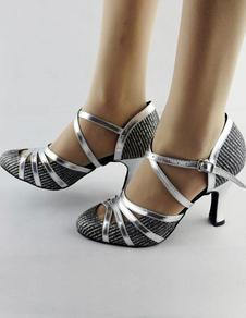 Sapatos de dança 2020 de salão Sapatos de salão Latin Sapatos de ballet Mulher Criss Cross com ponta de amêndoa