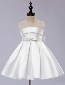 Vestido de niña 2020 de las flores blancas Tutu Toddlers Longitud de la rodilla Vestido de cena de satén