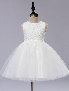 Платье с белым цветком девушки с принцессой без рукавов