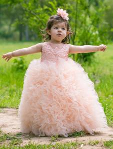 فستان حفلة موسيقية الوردي زهرة اللباس الفتيات الكاحل طول الكرة ثوب الكشكشة طفل الأميرة اللباس