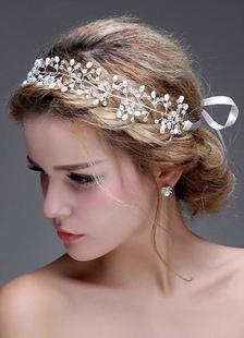 Серебра повязки для новобрачных свадебное жемчужное головной убор (40 X 4 см)