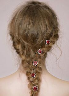 الزفاف حجر الراين خوذة أحمر روز الشعر دبوس تيارا (7.6 سم × 2.5 سم)