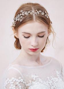Горный хрусталь цветок оголовье Свадебные головные украшения тиара (35 см Х 5 см)