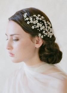فضة الزفاف تيارا حجر الراين أغطية الرأس (16 سم × 10 سم)