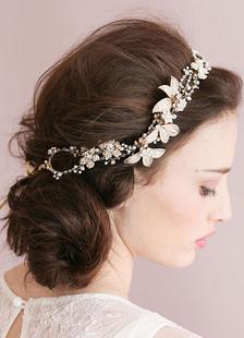 Золото головной убор цепи головные украшения Свадебные цветок оголовье тиара (40 см X 3 см)