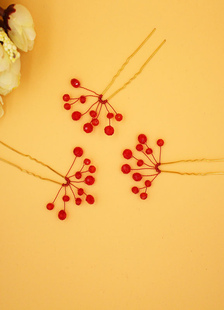 Strass vermelho cabelo Pin casamento Bridal Headpieces Tiara (8 Cm X 4 Cm)