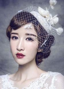 Casamento nupcial Fascinator chapéu Tiara de pérolas de linho Headpieces Birdcage véu (28 Cm X 14 Cm)