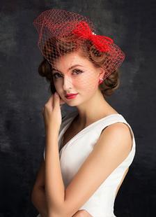 الزفاف أغطية الرأس فاسيناتور قبعة الأحمر بونوت قفص العصافير الحجاب