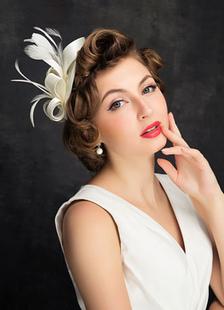 Noivas casamento chapéu pena branca linho Headpiece casamento flor do cabelo (15cm de diâmetro)