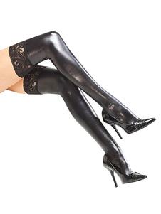 Meias pretas PU couro laço coxa-altos feminino