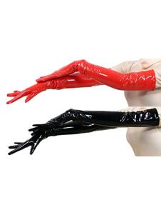 Rojo mujeres guantes PVC codo guantes de longitud