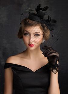 Casamento preto Headpieces pena tule Birdcage véu Headbands