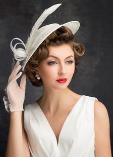 العاج الزفاف قبعة الزفاف ريشة تول أغطية الرأس