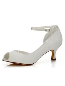 Branco nupcial sapatos Peep laço tornozelo cinta gatinho salto alto sapatos de casamento para mulheres