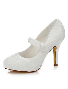 العاج أحذية الزفاف المطرزة أنيقة الحرير أحذية عالية الكعب الزفاف