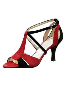 Dança de salão sapatos contraste cor aberto Toe sandálias do salto elevado femininos