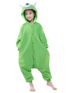 Disfraz Carnaval Verde franela ojo Animal mono ropa de dormir Kigurumi traje infantil Halloween Carnaval