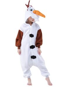 Kigurumi Pijamas Frozen Olaf Onesie Niños Franela Blanca Invierno Ropa de Dormir Mascota Disfraz de Animal Halloween