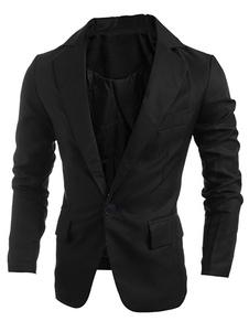 カジュアルスーツ ブラック  ブレザー ジャケット フロントボタン フィールド 折り襟 格安メンズファッション スーツジャケット スリム コットン メンズファッション