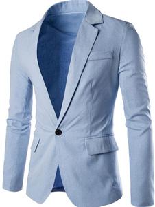 Blazer Мужчины вскользь длинный рукав весна куртка отложной воротник светло-голубой блейзер для мужчин