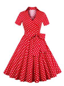 Vestiti Anni 50 donna Abiti Rosso  abiti anni 50 stampa floreale Cocktail Abito fiocchi Cotone misto maniche corte con scollo a V Estate