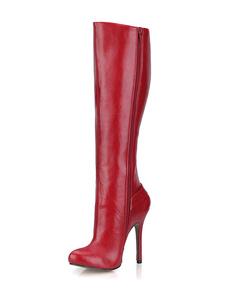 Salto alto vermelho joelho botas feminina redonda Toe fivela Stiletto botas
