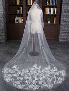 الدانتيل واحد-- الطبقة الزفاف الحجاب العاج تول قطرة قطع حافة الحجاب الزفاف الكاتدرائية الحافة مع مشط