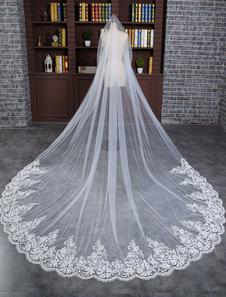 Laço do casamento véu marfim de uma camada de laço Oval Applique borda Sequin catedral véu nupcial com pente