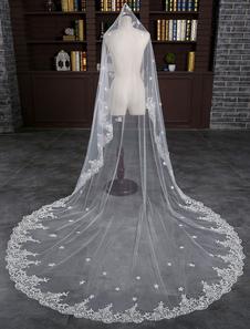 كاتدرائية الزفاف الحجاب الزهور الدانتيل 1-تير الشلال 300CM الحجاب الزفاف مع مشط