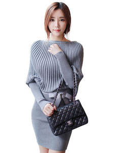 Серый свитер платье женщин Долман рукав Slim Fit вязать платье