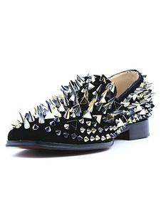 Black Spike Shoes 2020 homens de couro mocassins Toe Praça Rivet Slip On Prom Shoes