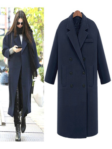 Wrap di donne cappotto manica lunga blu profondo doppiopetto pulsante tacca collare Cocoon