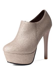 Glitter Zipper salto alto botas plataforma preto feminino redondo Toe botas curtas