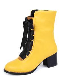 Botas de mitad de la pantorrilla de PU amarillo  de puntera redonda 6cm de tacón gordo con cremallera Color liso Otoño Invierno con cinta