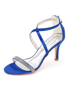 As mulheres casamento sapatos cetim sapatos de noiva salto alto sandálias strass Stiletto feminino