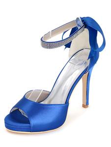 Zapatos de novia de satén Zapatos de Fiesta de tacón de stiletto Zapatos azul  Zapatos de boda de puntera abierta 11cm con cinta 1.5cm