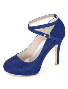 أسود أحذية الزفاف منصة عالية الكعب بريق المرأة في الكاحل حزام الخنجر أحذية الزفاف