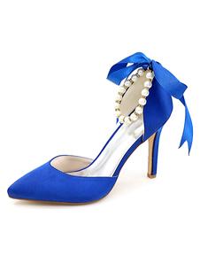 العاج أحذية الزفاف أشار تو الشريط اللؤلؤ الشريط الكاحل الانزلاق على أحذية عالية الكعب الزفاف