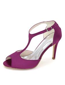 Scarpe con tacco 2020 a punta viola Scarpe da sposa in raso punta aperta tipo T Tacchi alti
