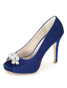 الأزرق أحذية الزفاف منصة زقزقة عالية الكعب بريق الراين المرأة الانزلاق على الخنجر أحذية الزفاف