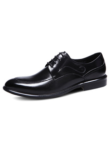 الرجال اللباس أحذية الأسود اللوز تو الدانتيل حتى جلد البقر الأحذية 2020